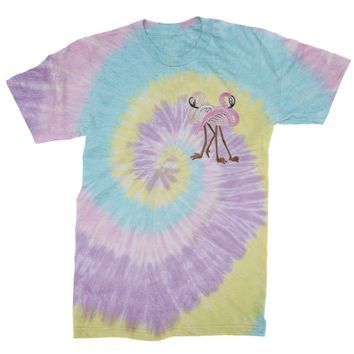 Embroidered Flamingos Patch (Pocket Print) Mens Tie-Dye T-shirt