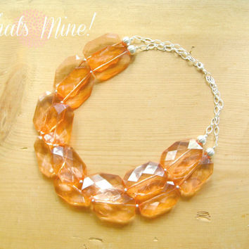 Peach Chunky Statement Necklace, Coral peach chunky necklace