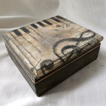 Piano Music Box, Wood Storage Box, Rustic Home Decor Box, Piano Jewelry Box, Her Gift Box, Music Keepsake Box