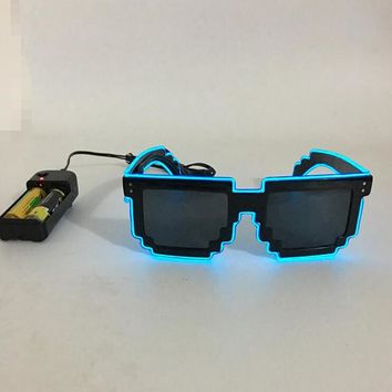 2017 Light up 8 bit pixel Fashion Sound Activated Switch El Glasses,Sunglasses for party show el wire sunglasses el sunglasses