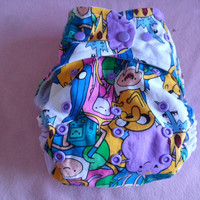 SassyCloth one size pocket diaper with Adventure time characters cotton print. Made to order.