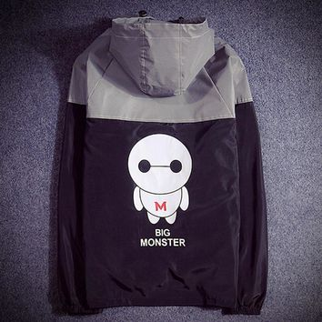 Supreme Unisex Lighting Windbreaker Supreme Thin and thick Reflective clothes hoodies big monster letters Back