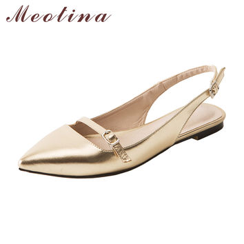 Meotina Shoes Women Pointed Toe Flat Shoes Buckle Flats Sandals Buckle Causal Shoes Fashion Ladies Shoes Gold Red Size Big 42 43