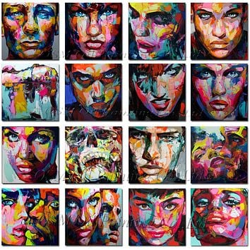 Superb Artist Hand-painted King Size Nielly Francoise Portrait Oil Painting for Living Room Customize Abstract Face Oil Painting