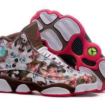 Hot Air Jordan 13 Women Shoes Follower Coffee Red White
