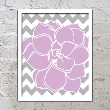 Bold Colorful Dahlia Flower Chevron Purple Lavender Lilac Grey Gray Decor Wall Art Poster Nursery Print Bedroom Bathroom