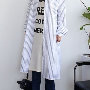 Navy Blue and White Vertical Striped Long Shirts Dress Coats Womens