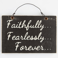Faithlessly Fearlessly Forever Wood Sign | Room & Dorm