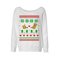 Rudolph and Clarice Christmas Sweater Wideneck Sweatshirt