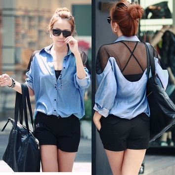 Sexy Women Backless Mesh Denim Folding Sleeve Button Down  Shirt Tops Blouse D_L