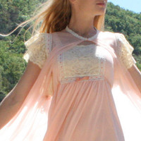 Vintage Peignoir Set Night gown Lace Chiffon by RubyChicBoutique