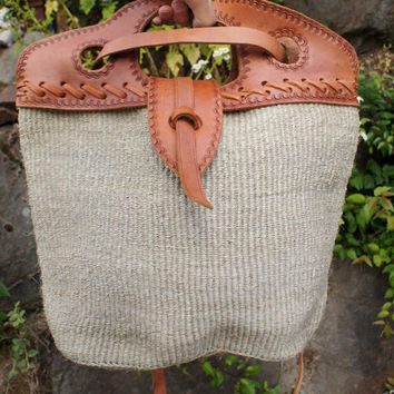 Ethnic, Jute, Tooled Leather,  Tote, Purse, Natural, Beach Bag