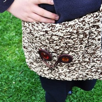 Hand Knitted Handbag, Messenger Bag,  Fall Colors brown and cream,,Handbag Women , Christmas gift