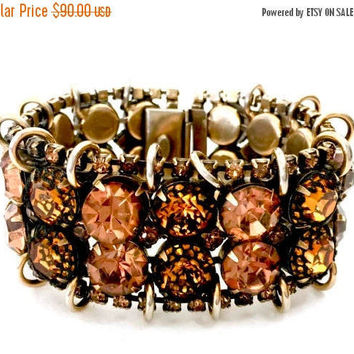Kramer of New York Rhinestone Bracelet, 2 Shades of Topaz Rhinestones, 4 Rows, Antique Gold Tone, Vintage Statment Bracelet, Designer Signed