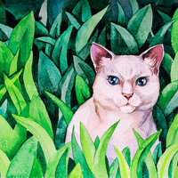 White cat in green grass Digital Download Art printable, animal watercolor painting for cat lovers, art craft supplies