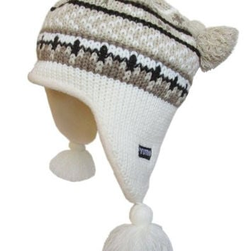 YUTRO Winter Wool Knitted Ear Flap Beanie Hat with Fleece Lining One Size WHITE/BROWN