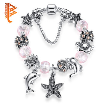 New Lovely Gift Pink Murano Glass Dolphin Starfish Beads Bracelet Fit Original 925 Silver Charm Bracelets Jewelry For Women Girl