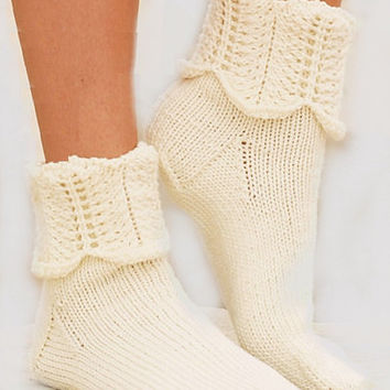 Cream-natural color  socks warm lovely handmade