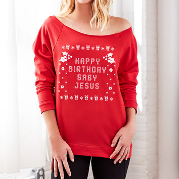 Happy Birthday Baby Jesus Off the Shoulder Women's Girly Christmas Sweaters
