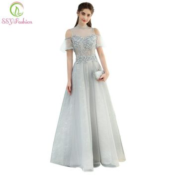The Banquet Elegant Grey Lace Evening Dress High-neck Floor-length Beading Prom Formal Party Gown Custom