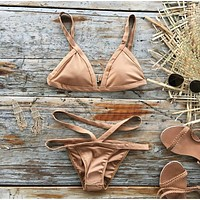 Hollow Solid Color Strap Beach Bikini Set Swimsuit Swimwear