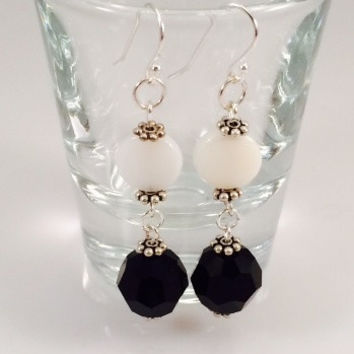 Black Swarovski and White Shell Dangle Earrings