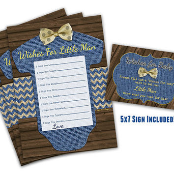 Little Man Wishes for Baby Cards - Printable Baby Shower Wishes for Baby Boy - Bowtie Baby Shower -  Romper Navy Yellow - Baby Shower Wish