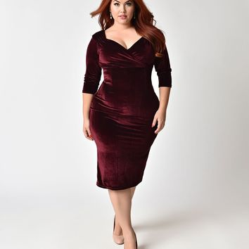 Steady Plus Size 1950s Burgundy Red Velvet Sleeved Diva Cocktail Dress