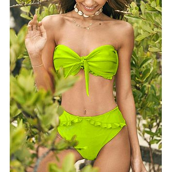 Fashion Summer New Solid Color Knot Beach Wading Sports Swimsuit Strapless Two Piece Bikini Green