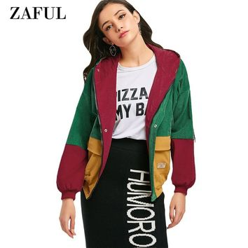 Trendy ZAFUL Casual Jacket Coat Women Patchwork Color Block Hooded Pocket Corduroy Winter Autumn Jackets Jacket Coats Women Outerwear AT_94_13