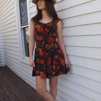 90s Mini Dress Floral Rayon Vintage Summer Marnie West S XS