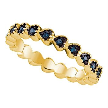 Yellow-tone Sterling Silver Women's Round Blue Color Enhanced Diamond Single Row Heart Band 1-4 Cttw - FREE Shipping (US/CAN)