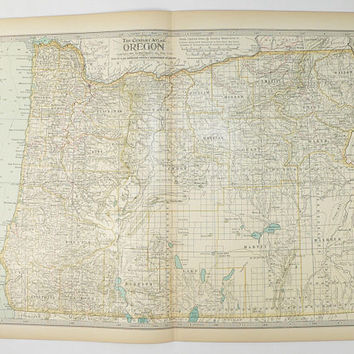 1899 Century Map of Oregon, Antique OR Map, Unique Wedding Gift for Couple, Gift Under 30, Pacific Northwest, 11 x 15 Map Art, Oregon Map