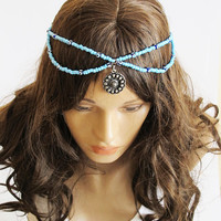 Blue beaded Headpiece Boho Head Jewelry Elastic Bohemian Headband Headdress Gypsy Jewelry Chic Bohemian Hair Jewelry For Women