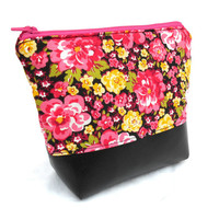 Pink and Black Floral Makeup Accessory Bag - 90s Make Up Accessories Bag Pouch Clutch