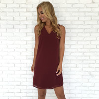 Over Time Shift Dress In Wine