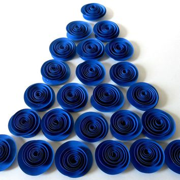 "Royal Blue Rosettes, 25 Bright Paper Flowers in Bulk, Party Supplies, Wedding Reception Decorations, Baby Shower Decor, 1.5"" Roses"