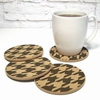 Classic Houndstooth Pattern Cork Coaster Set