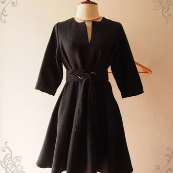 Black Winter Dress, Vintage Inspired Dress, Pockets Dress, Black Formal Dress, Fall Winter Dress, Maternity Dress -Autumn Winter Collection