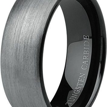 8mm Tungsten Carbide Black Plated Inner Polished Ring Wedding Engagement Promise Band