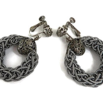 Miriam Haskell Dangling Earrings Vintage Filigree Ball Gray Braided Silk Hoop Screw Back Earrings