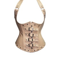 Nude Leather Look Underbust Corset