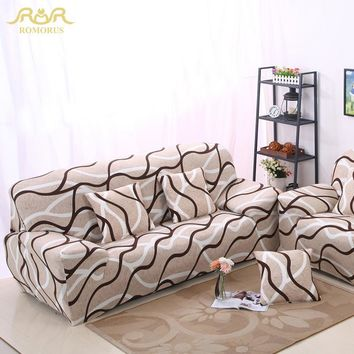 ROMORUS Stripe Tight All-inclusive Sofa Couch Covers Stretch Elastic Wrap Entire Slipcover Single Two Three Four-seat Sofa Cover