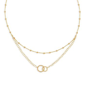 14 Karat Gold Plated Multistrand Beaded Necklace with Circle Link ~ 16""