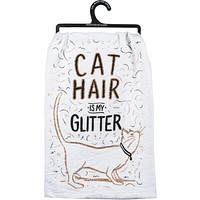 Cat Hair Is My Glitter Dish Towel in White