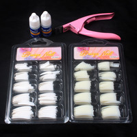 100 Pcs Natural White False Acrylic Nail Kit  French Tips & Nail Art Glue Cutter Tools Kits Set To Build Gel Nails 2427