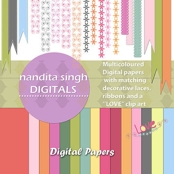 Nursery and Baby Digital papers,Floral border,Clip art,Laces,Ribbons,Matching papers,Pastels,Printable,Decorative Borders PNG Commercial