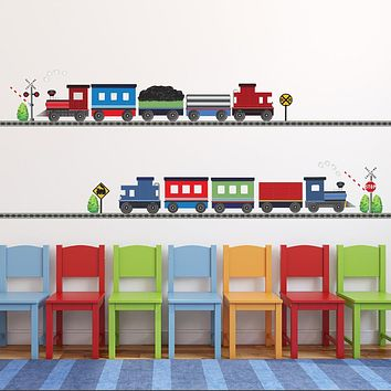 2 Freight Trains & Straight Railroad Track Wall Decals Eco-Friendly Wall Stickers Color 1