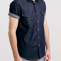 Blue Dark Wash Short Sleeve Western Denim Shirt