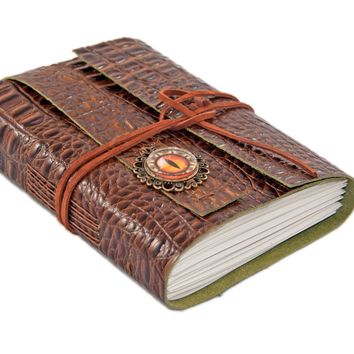 Brown Alligator Embossed Leather Journal - Leather Journal - Blank Paper Journal - Travel Journal - Journal - Dragon Eye Cameo -